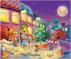 Bob y sus amigos trabajano de noche reparando una calle de la ciudad