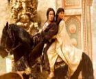 El príncipe y la princesa a lomos de un hermoso caballo