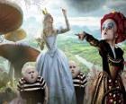 Alicia, junto a los gemelos y la Reina Roja