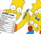 Bart Simpson con las notas del colegio ante la atenta mirada de sus hermanas