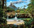 Bonito paisaje con dinosaurios