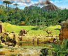 Varios dinosaurios con un volcán en erupción al fondo
