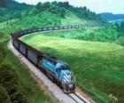 Tren de mercancias con muchos vagones