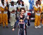 Mark Webber celebra su victoria en Circuit de Catalunya, Gran Premio de España (2010)