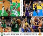 Final NBA 2009-10, Bases, Rajon Rondon (Celtics) vs Derek Fisher (Lakers)