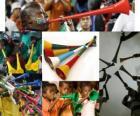La vuvuzela, es una especie de trompeta larga utilizada por los aficionados para animar a sus equipos, característica en el fútbol sudafricano.