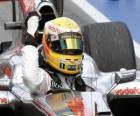 Lewis Hamilton celebra su victoria en Montreal, Gran premio de Canadá 2010