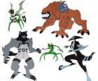 Grupo de cinco de los alienígenas del Omnitrix de Ben 10