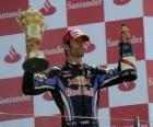 Mark Webber celebra su victoria en Silverstone, Gran Premio de Gran Bretaña (2010)