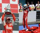 Fernando Alonso celebra su victoria en Hockenheim, Gran Premio de Alemania (2010)