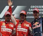 Fernando Alonso, Felipe Massa, Sebastian Vettel, Hockenheim, Gran Premio de Alemania (2010) (1er, 2º y 3er Clasificados)