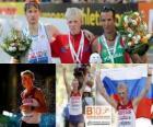 Stanislav Emelyanov campeón de 20 km marcha, Alex Schwazer y Joao Vieira (2º y 3ero) de los Campeonatos de Europa de atletismo Barcelona 2010