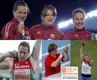 Nadezhda Ostapchuk campeona en lanzamiento de peso, Natallia Mikhnevich y Anna Avdeeva (2ª y 3era) de los Campeonatos de Europa de atletismo Barcelona 2010