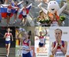 Olga Kaniskina campeona de 20 km marcha, Anisia Kirdiapkina y Vera Sokolova (2ª y 3era) de los Campeonatos de Europa de atletismo Barcelona 2010