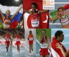 Elvan Abeylegesse campeona en los 10000 m, Inga Abitova y Jessica Augusto (2ª y 3era) de los Campeonatos de Europa de atletismo Barcelona 2010