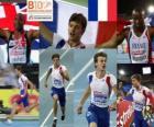 Christophe Lemaitre campeón en los 100 m, Mark Lewis-Francis y Martial Mbandjock (2º y 3ero) de los Campeonatos de Europa de atletismo Barcelona 2010