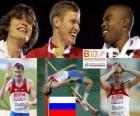 Alexander Shustov campeón en Salto de altura, Ivan Ujov y Martyn Bernard (2º y 3ero) de los Campeonatos de Europa de atletismo Barcelona 2010