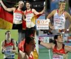 Linda Stahl campeona en lanzamiento de Jabalina, Christina Obergföll y Barbora Špotáková (2ª y 3era) de los Campeonatos de Europa de atletismo Barcelona 2010