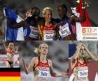 Verena Sailer campeona en los 100m, Véronique Mang y Myriam Soumaré (2ª y 3era) de los Campeonatos de Europa de atletismo Barcelona 2010
