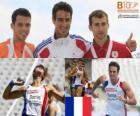 Romain Barras campeón en Decatlón, Eelco Sintnicolaas y Andréi Krauchanka (2º y 3ero) de los Campeonatos de Europa de atletismo Barcelona 2010