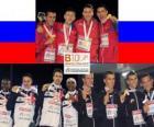 M. Dyldin, A. Axenov, P. Trenijin y V. Krasnov campeónes 4x400m , C. Williams, M. Bingham, R. Tobin y M. Rooney (2os) A. Destatte, K. Borlée, C. van Branteghem Brant y J. Borlée (3eros) de los Campeonatos de Europa de atletismo Barcelona 2010