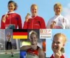 Betty Heidler campeona en lanzamiento de martillo, Tatiana Lysenko y Anita Włodarczyk (2ª y 3era) de los Campeonatos de Europa de atletismo Barcelona 2010