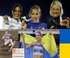 Olha Saladuha campeona de Triple salto, Simona La Mantia y Svetlana Bolshakova (2ª y 3era) de los Campeonatos de Europa de atletismo Barcelona 2010