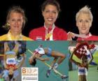 Blanka Vlasic campeona de Salto de altura, Emma Green y Ariane Friedrich (2ª y 3era) de los Campeonatos de Europa de atletismo Barcelona 2010