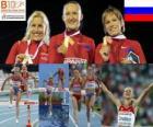 Yulia Zarudneva campeona en 3000 m obstáculos, Marta Domínguez y Liubov Jarlamova (2ª y 3era) de los Campeonatos de Europa de atletismo Barcelona 2010