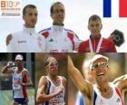 Yohann Diniz campeón de 50 km marcha, Grzegorz Sudoł y Sergéi Bakulin (2º y 3ero) de los Campeonatos de Europa de atletismo Barcelona 2010