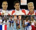 Mahiedine Mekhissi-Benabbad campeón en 3000 m obstáculos, Bouabdellah Tahri y José Luis Blanco (2º y 3ero) de los Campeonatos de Europa de atletismo Barcelona 2010
