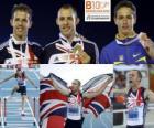 David Greene campeón de 400 m vallas, Rhys Williams y Stanislav Melnykov (2º y 3ero) de los Campeonatos de Europa de atletismo Barcelona 2010