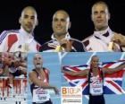 Andy Turner campeón de 110 m vallas, Garfield Darien y Dániel Kiss (2º y 3ero) de los Campeonatos de Europa de atletismo Barcelona 2010