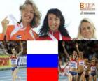 Maria Savinova campeona en 800 m, Yvonne Hak y Jennifer Meadows (2ª y 3era) de los Campeonatos de Europa de atletismo Barcelona 2010