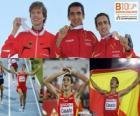 Arturo Casado campeón de 1500 m, Carsten Schlangen y Manuel Olmedo (2º y 3ero) de los Campeonatos de Europa de atletismo Barcelona 2010