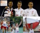 Marcin Lewadowski campeón de 800 m, Michael Rimmer y Adam Kszczot (2º y 3ero) de los Campeonatos de Europa de atletismo Barcelona 2010