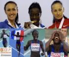 Myriam Soumaré campeona en 200 m, Yelizabeta Bryzhina y Alexandra Fedoriva (2ª y 3era) de los Campeonatos de Europa de atletismo Barcelona 2010
