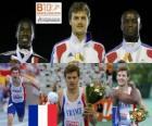 Christophe Lemaitre campeón de 200 m, Christian Malcolm y Martial Mbandjock (2º y 3ero) de los Campeonatos de Europa de atletismo Barcelona 2010