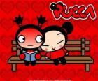 Pucca y Garu sentados en el banco del parque
