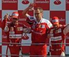 Fernando Alonso, Stefano Domenicali y Felipe Massa - Monza 2010