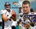 Tim Tebow quarterback de fútbol americano juega en los Denver Broncos.