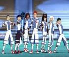 Protagonistas de las aventuras de Fútbol Galáctico, algunos de los jugadores del equipo Snow Kids del planeta Akillian