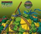 Las cuatro Tortugas Ninja: Leonardo, Michelangelo, Donatello i Raphael. Las Tortugas Ninja o TMNT