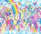 muchos ponis junto a el arcoiris. Mi pequeño pony