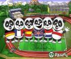 Varios pandas de Panfu con camisetas de algunas selecciones nacionales