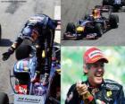 Sebastian Vettel celebra su victoria en el Gran Premio de Brasil (2010)