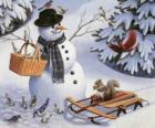 Muñeco de nieve con una ardilla y varios pájaros a su alrededor