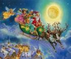 El trineo de Santa Claus volando sobre las casas durante la noche de Navidad