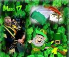 17 de marzo. Día de San Patricio es la celebración de la cultura irlandesa. Tréboles usados como un símbolo de Irlanda