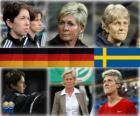 Nominadas para la Copa Mundial de Entrenador del Año del Fútbol Femenino 2010 (Maren Meinert, Silvia Neid, Pia Sundhage)